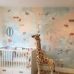What a great idea for wallpaper for baby nursery theme that will grow with your child. So cute and educational too!  by Little Hands Wallpaper Wall Mural Baby Nursery Kids Room Design Animal Theme world map
