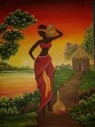🌺**For more great pins go to African Drawings, African Art Paintings, Black Women Art, Black Art, Afrique Art, African Theme, Art Africain, African American Art, Tribal Art