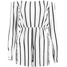 Boohoo Selena Striped Off the Shoulder Playsuit