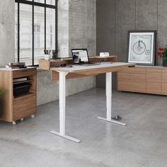 The Kronos Lift Standing desk raises the standard for motorized height-adjustable sit+stand desks. Perfect for a home or corporate office environment, the Kronos 6752 features a programmable digital keypad, ample workspace, and unique mezzanine shelf.