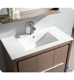 """Picture of Fresca Allier 36"""" Gray Oak Modern Bathroom Vanity w/ Mirror"""