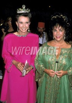 The Condesa Aline de Romanones, wearing her emerald tiara necklace combination, along side Elizabeth Taylor