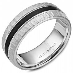 65aac49fff928f A Bleu Royale textured white gold wedding band with a black carbon center.  Crownring - Designer Wedding Ring For Men