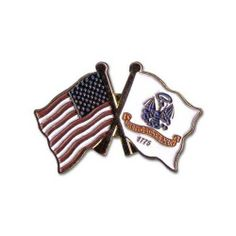 """US and Army Lapel Pin by US Flag Store. $1.59. Double Flag Lapel Pin (USA & Army). Baked Enamel Finish. Low Cost Shipping Available!. Approx 1 3/8"""" x 3/4"""". Gold Metal Lacquered Design and Clutch Pin. The US and Army flag lapel pin is a great way to show your support. Our pins cost less than our competitors, but are equal or higher quality. We sell thousands of pins a week, and we pass the savings on to you! This Army Flag lapel pin has an all gold metal lacquere..."""
