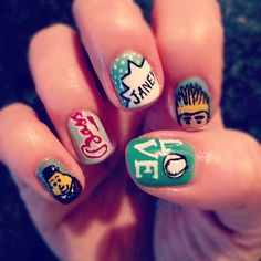 """My Paddy's Day nails - the """"other"""" hand, so please be kind! - featuring Mr. Tayto, Bass, one of my favourite words ever, a Jedward, and hurling."""