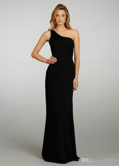 Cheap One Shoulder Black Chiffon Long BridesmaidsDresses 2017 Sexy Wedding  Guest Dress Backless Formal Evening Gowns Eden Bridesmaid Dress Bridal  Bridesmaid ... 7f582bcf38af