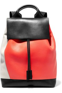 Black, red and stone leather (Lamb) Drawstring top Weighs approximately 1.1lbs/ 0.5kg Made in Italy