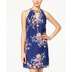 Bcx Juniors' Printed Ruffle-Back Halter Dress ($43) ❤ liked on Polyvore featuring dresses, navy floral, navy floral dress, ruffle halter dress, floral halter dress, navy dress and halter-neck dress