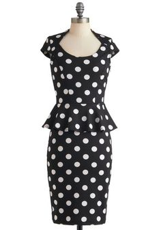 The Lady in You Dress - Long, Black, White, Polka Dots, Party, Peplum, Cap Sleeves, Vintage Inspired, 60s, Pinup, Top Rated