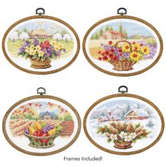 All Four Seasonal Florals with Frames - Cross Stitch, Needlepoint, Stitchery, and Embroidery Kits, Projects, and Needlecraft Tools | Stitchery