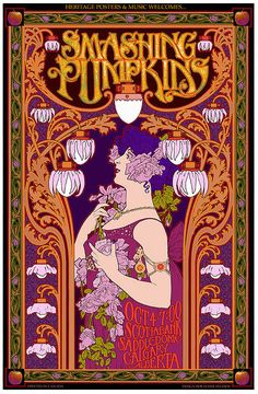 Smashing Pumpkins art nouveau concert poster. Art nouveau is such a popular design style for concert posters. Love it.