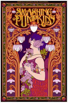 Smashing Pumpkins art nouveau concert poster. Art nouveau is such a popular design style for concert posters. Love it.