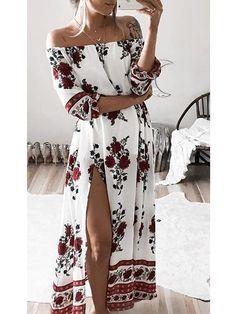 Chicnico Fashion Bateau Off Shoulder Floral Print Dress