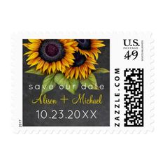 Rustic sunflowers on chalkboard wedding save date postage