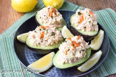 <em> This Buffalo Chicken Salad Stuffed Avocado is perfect for a picnic, BBQ, beach or even when camping! </em>   We just returned from our first camping trip of the year and one of the things that make it so enjoyable for me is not having to do a lot of cooking. Hubby enjoys cooking on the grill but I like to give him a break from cooking as well and this meal is one of those make ahead recipes perfect fo...