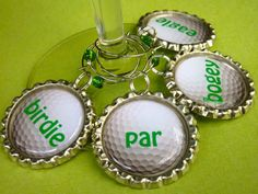Golf wine charms, drink charms, golf party favors