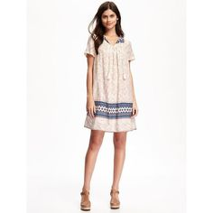 Old Navy Womens Tassle Boho Swing Dress ($37) ❤ liked on Polyvore featuring dresses, petite, white, short sleeve dress, white day dress, tent dress, swing dress and white dress
