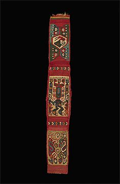 HUARI culture 600 – 1000 AD Band 600-1000 AD wool and cotton , woven 49.0 (h) x 7.6 (w) cm