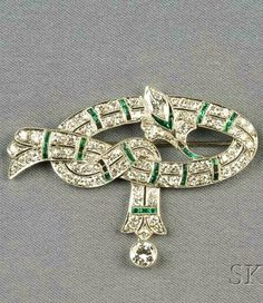 Art Deco Platinum, Emerald, and Diamond Brooch