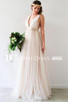 $127.09-Sexy V-Neck Sleeveless Tulle Wedding Dress with Open Back. http://www.ucenterdress.com/v-neck-sleeveless-jeweled-tulle-wedding-dress-pMK_705321.html.  Free Custom-made & Free Shipping! Shop lace wedding dress, strapless wedding dress, backless wedding dress, with sleeves, mermaid wedding dress, plus size wedding dress, We have great 2016 best Wedding Dresses on sale at #UcenterDress.com today! #wedding #dress