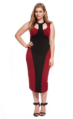 Studio Colorblocked Midi Dress   ELOQUII.com