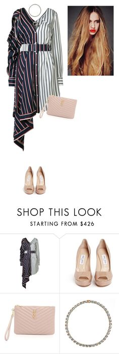 """Sans titre #7651"" by youngx ❤ liked on Polyvore featuring Monse, Jimmy Choo, Yves Saint Laurent and Larkspur & Hawk"
