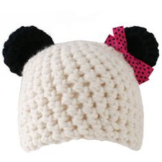 Crocheted Panda Hat with Bow