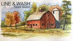 Learn how to combine line and wash in this landscape painting and drawing lesson.