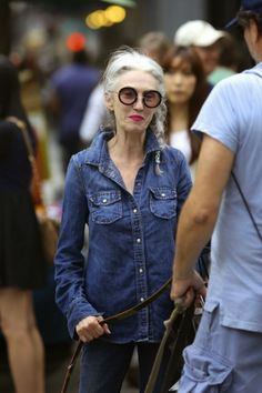 Linda Rodin goes denim on denim.  That's Not My Age: The J. Crew denim shirt
