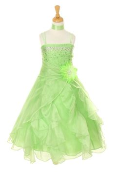 Girls Long Lime Green Dresses with Scarf and Ruffled Skirt are a must have for girls who want to look pretty during a wedding or any formal event. Made out of crystal organza, the lime green dress fea
