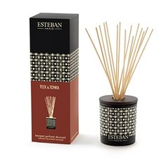 "Esteban Paris Teck & Tonka Decorative Scented Bouquet - Each gift box includes a vase, a ceramic cap, 15 perfume sticks (8.5""h) and a scented bouquet refill."