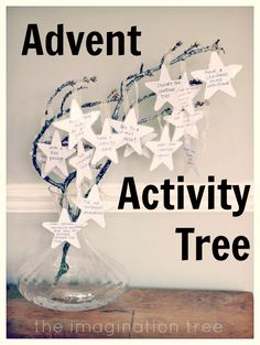 Advent Activity Tree! At the start of advent have everyone share what they like about Advent, what they want to do etc.  Write each on a star cutout and LAMINATE.  Then attach the stars to twig or Christmas tree.
