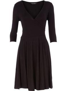 Black jersey wrap dress for work.