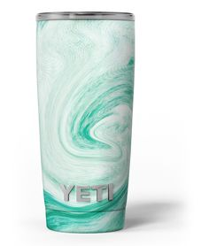 Swirling Mint Acrylic Marble Yeti Rambler Skin Kit from DesignSkinz