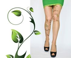 Poison Ivy Tattoo TightsGreen Ivy Leafs Print by colinedesign, $22.90