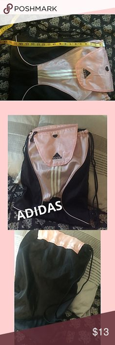 ADIDAS, pink and black drawstring bag ADIDAS, pink and black drawstring bag, carry as a backpack or just use as a drawstring bag, good used condition.  See pic that shows very slight pull on bag under flap. Barely there just want to be sure I show it. adidas Bags Backpacks
