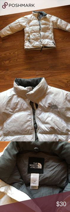 North Face Coat, Girls Large, GUC Great coat, white with gray interior, some dirt near pockets and near hands but in great shape overall!  Works for a woman XS also! The North Face Jackets & Coats Puffers