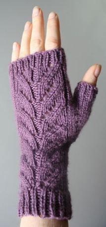 Purple /& Black Stripes Fingerless Gloves Violett Handschuhe 28 cm Einheitsgroesse