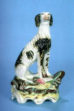 """""""The Mystery of the East"""" It was questionable whether or not this model should be catalogued as a Saluki. The first puppies of the breed only arrived in Britain in 1895, but evidence before one's eyes appears unmistakable. Circa 1845, Height 9 inches"""