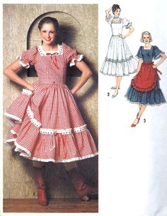 1970s Misses Square Dance Dress Farmers by MissBettysAttic on Etsy, $6.00