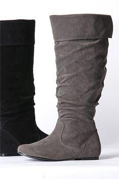 Women's Shoes - Sara Flat Suede Boots - EziBuy Australia