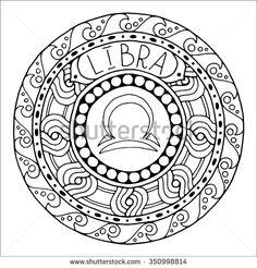 Zodiac sign of libra and constellation in mandala with ethnic pattern. Set of black and white icon. Horoscope and zodiacal template. Can be used for magazine, coloring book. Hand drawn doodle circle.