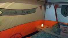 Glamping Tent.  Handmade  banners add a bit of whimsy.