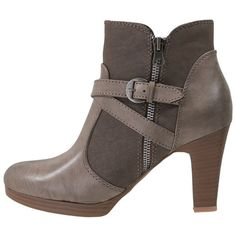 Anna Field Ankle boots (190 BRL) ❤ liked on Polyvore featuring shoes, boots, ankle booties, grey, gray booties, gray boots, grey booties, platform boots and faux leather boots