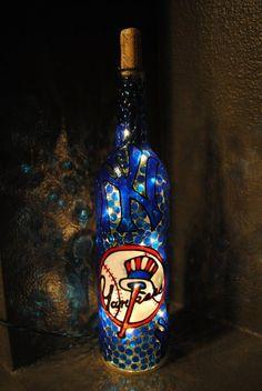 New York Yankees Lighted Wine Bottle by WineNotBottles on Etsy, $30.00