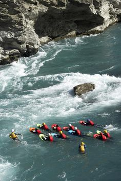River surfing on the Kawarau River, Kawarau Gorge, New Zealand