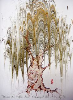 "Willow Tree - Original Marbling Art, Hand Marbled Paper, The Original "" Marbled Graphics""TM by Robert Wu"
