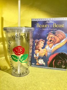 Beauty and the Beast, Belle, Enchanted Rose, Disney 16 oz  Insulated Tumbler - drink before the last petal falls by POPShoppe on Etsy