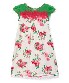 Pink & Green Floral Cap-Sleeve Dress - Toddler & Girls