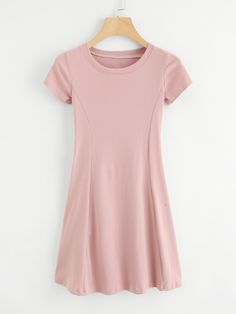 Shop Round Neck Tee Dress at ROMWE, discover more fashion styles online. Cute Dresses, Casual Dresses, Casual Outfits, Short Sleeve Dresses, Teen Fashion Outfits, Girl Fashion, Fashion Dresses, Pretty Outfits, Cute Outfits